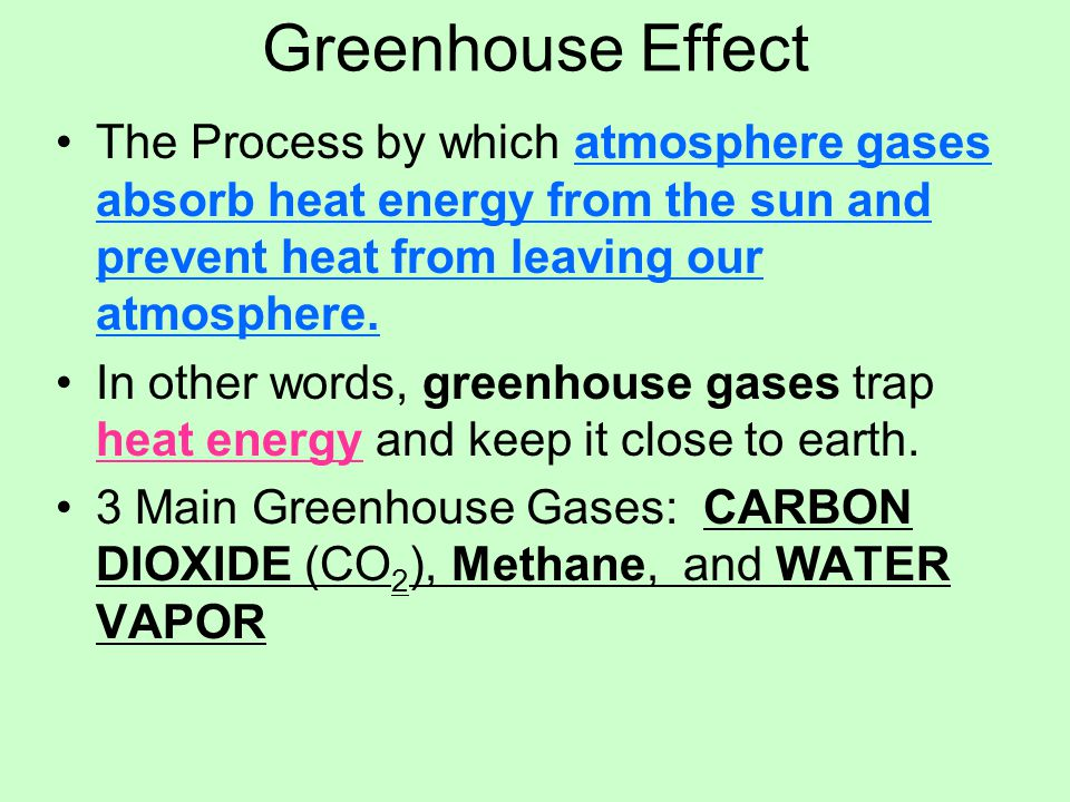 Greenhouse Effect The Process by which atmosphere gases absorb heat energy from the sun and prevent heat from leaving our atmosphere.