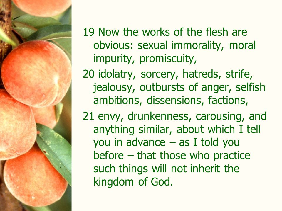 19 Now the works of the flesh are obvious: sexual immorality, moral impurity, promiscuity, 20 idolatry, sorcery, hatreds, strife, jealousy, outbursts of anger, selfish ambitions, dissensions, factions, 21 envy, drunkenness, carousing, and anything similar, about which I tell you in advance – as I told you before – that those who practice such things will not inherit the kingdom of God.