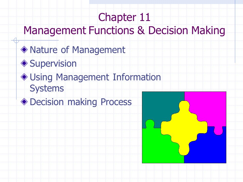 Chapter 11 Management Functions & Decision Making Nature of Management Supervision Using Management Information Systems Decision making Process