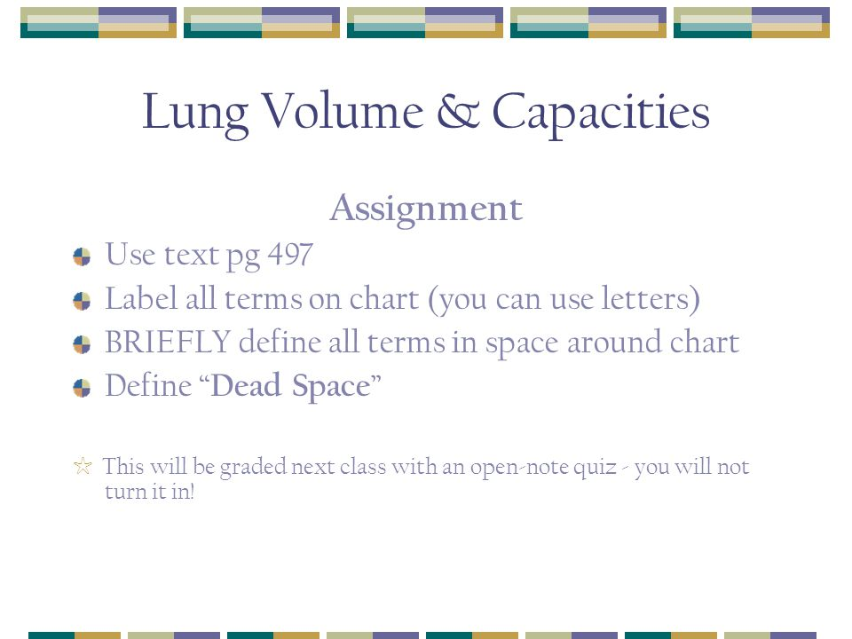 Lung Volume & Capacities Assignment Use text pg 497 Label all terms on chart (you can use letters) BRIEFLY define all terms in space around chart Define Dead Space ☆ This will be graded next class with an open-note quiz - you will not turn it in!