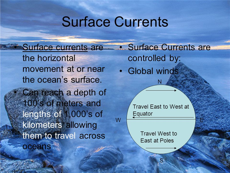 Surface Currents Surface currents are the horizontal movement at or near the ocean's surface.