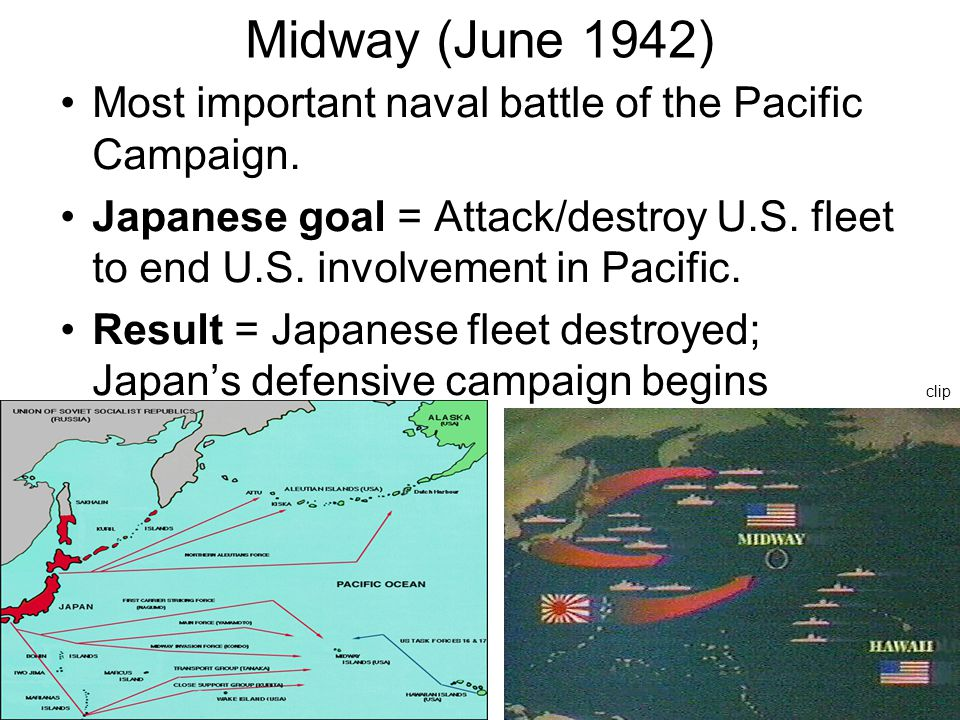 Midway (June 1942) Most important naval battle of the Pacific Campaign.