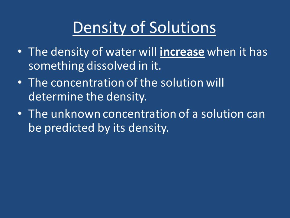 concentration solution density
