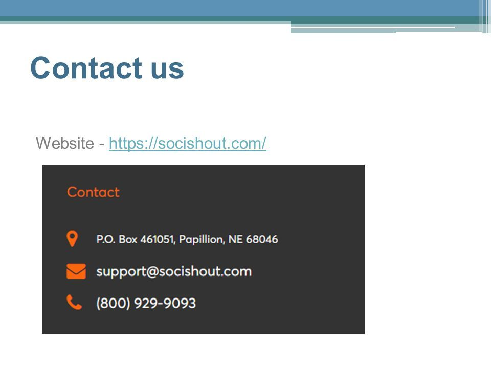 Contact us Website - https://socishout.com/https://socishout.com/