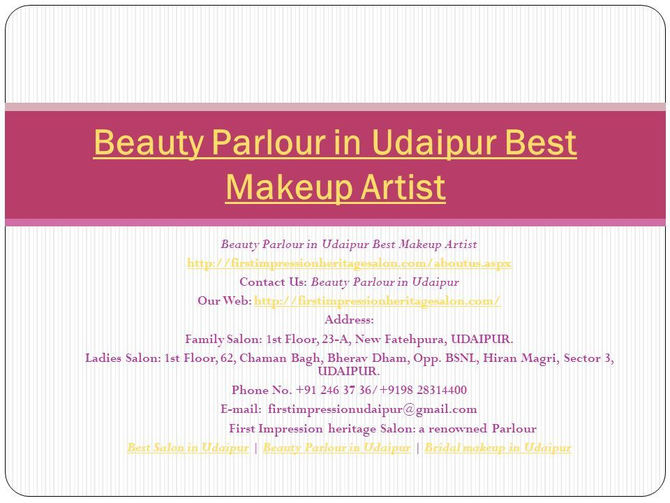 Beauty Parlour in Udaipur Best Makeup Artist   Contact Us: Beauty Parlour in Udaipur Our Web:   Address: Family Salon: 1st Floor, 23-A, New Fatehpura, UDAIPUR.