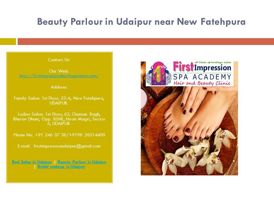 Beauty Parlour in Udaipur near New Fatehpura Contact Us: Our Web:     Address: Family Salon: 1st Floor, 23-A, New Fatehpura, UDAIPUR.