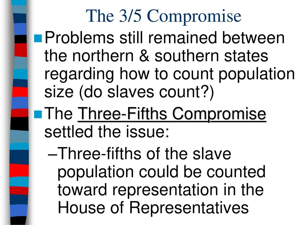 the compromises between the states at the constitutional congress of 1787 The constitutional convention and compromises include the three-fifths compromise, the great compromise was between the small states, the commerce compromise, slave trade compromise, and the election of the president.