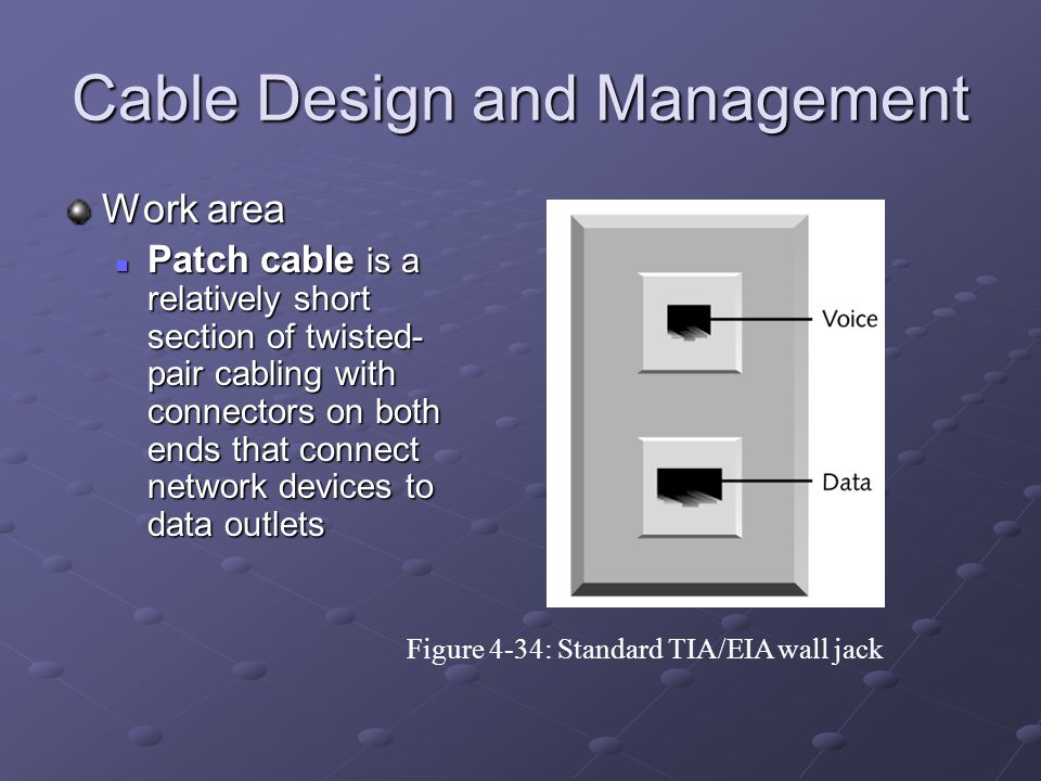 Cable Design and Management Work area Patch cable is a relatively short section of twisted- pair cabling with connectors on both ends that connect net