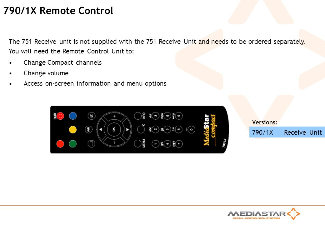 MediaStar Compact Training Slides Rev. E 790/1X Remote Control The 751 Receive unit is not supplied with the 751 Receive Unit and needs to be ordered