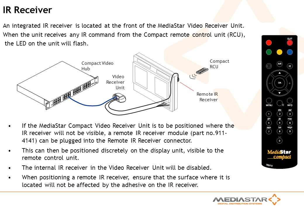 MediaStar Compact Training Slides Rev. E IR Receiver An integrated IR receiver is located at the front of the MediaStar Video Receiver Unit. When the