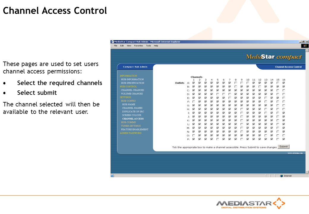 MediaStar Compact Training Slides Rev. E Channel Access Control These pages are used to set users channel access permissions: Select the required chan