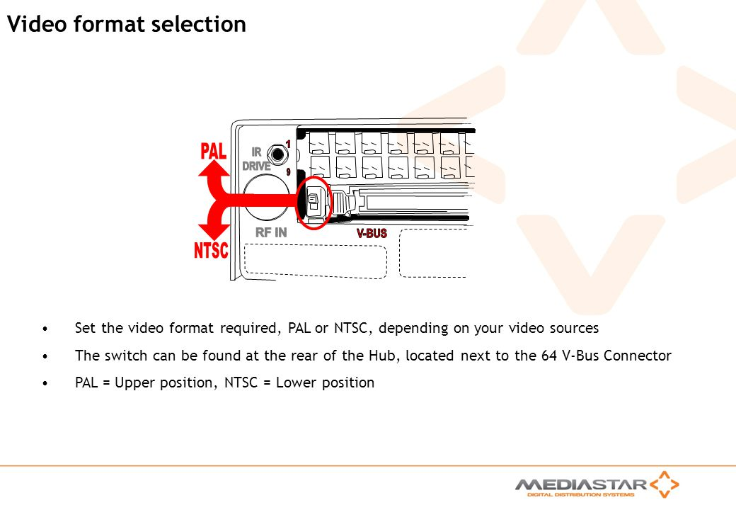 MediaStar Compact Training Slides Rev. E Video format selection Set the video format required, PAL or NTSC, depending on your video sources The switch