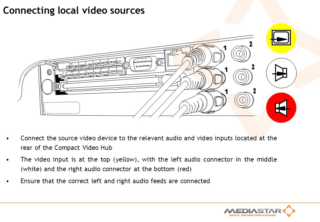 MediaStar Compact Training Slides Rev. E Connecting local video sources Connect the source video device to the relevant audio and video inputs located
