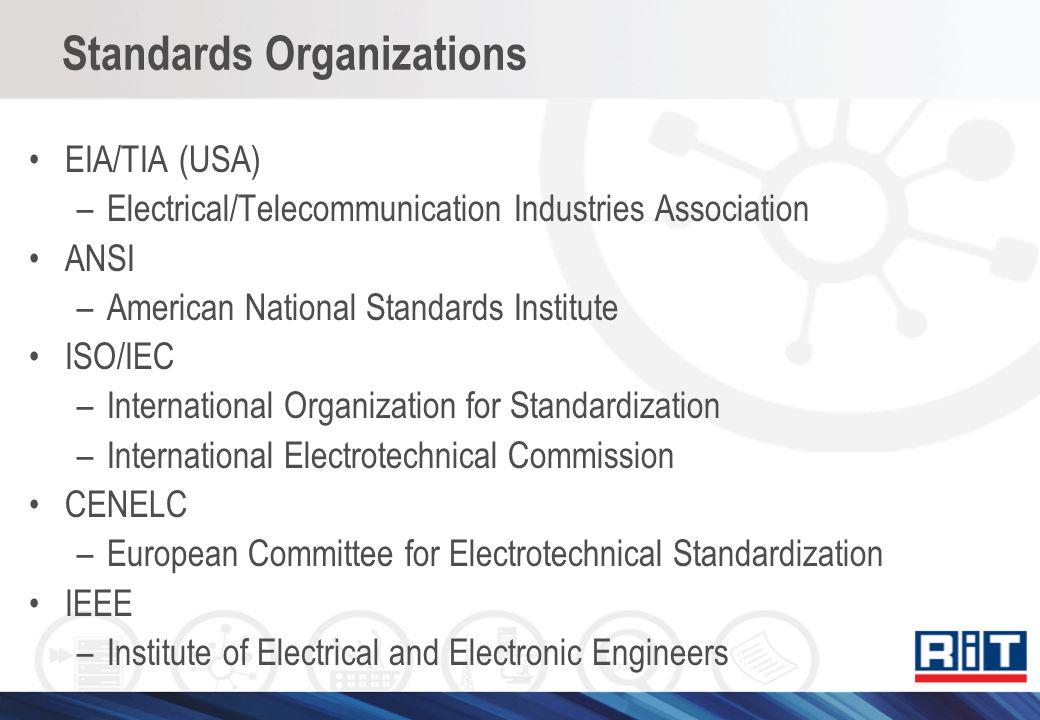 Standards Organizations EIA/TIA (USA) –Electrical/Telecommunication Industries Association ANSI –American National Standards Institute ISO/IEC –Intern