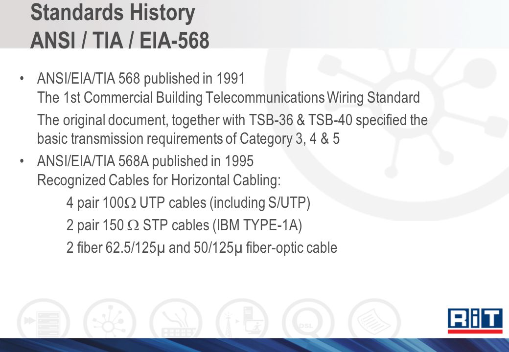 Standards History ANSI / TIA / EIA-568 ANSI/EIA/TIA 568 published in 1991 The 1st Commercial Building Telecommunications Wiring Standard The original