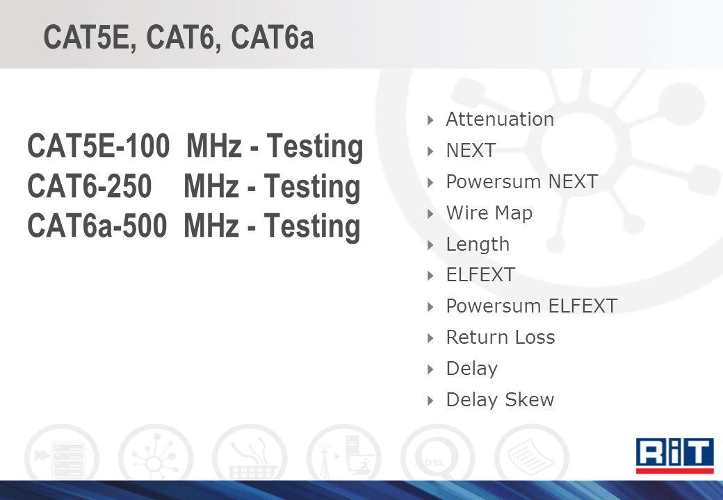 CAT5E-100 MHz - Testing CAT6-250 MHz - Testing CAT6a-500 MHz - Testing Attenuation NEXT Powersum NEXT Wire Map Length ELFEXT Powersum ELFEXT Return Lo
