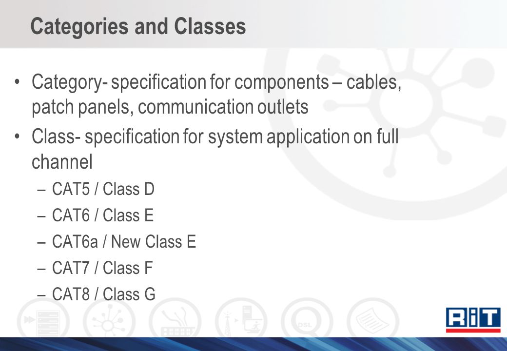 Categories and Classes Category- specification for components – cables, patch panels, communication outlets Class- specification for system applicatio