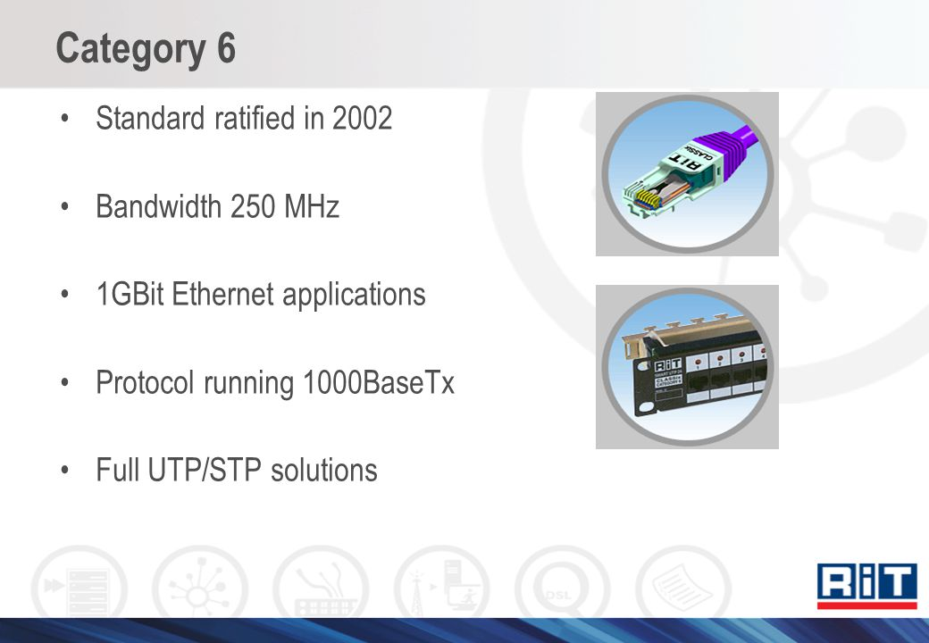 Category 6 Standard ratified in 2002 Bandwidth 250 MHz 1GBit Ethernet applications Protocol running 1000BaseTx Full UTP/STP solutions