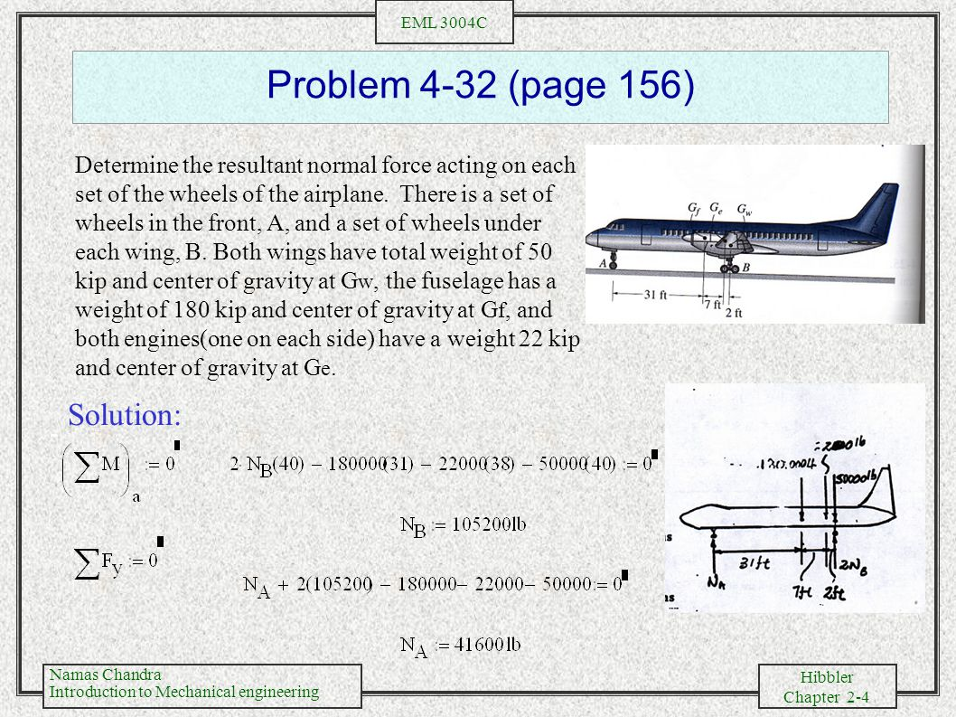 Namas Chandra Introduction to Mechanical engineering Hibbler Chapter 2-5 EML 3004C Problem 4-57 (page 172) The triangular plate is supported by a ball- and-socket joint at B and rollers at A and C.