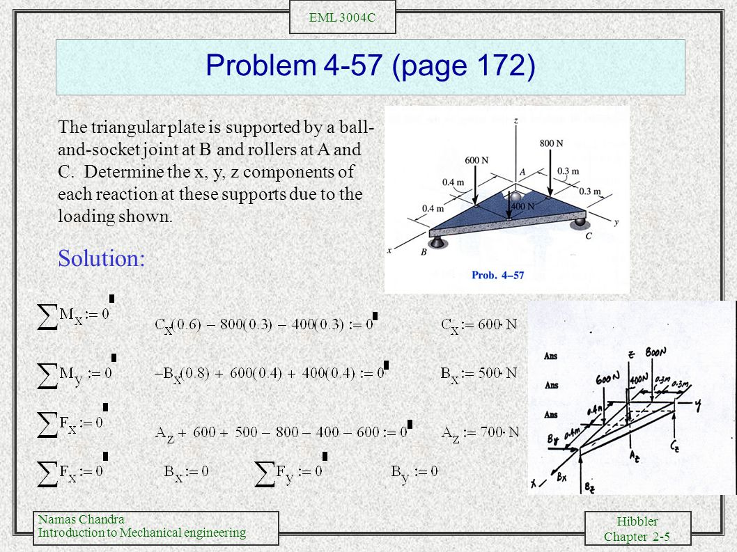 Namas Chandra Introduction to Mechanical engineering Hibbler Chapter 2-6 EML 3004C Problem 4-70 (page 174) Cable BC and DE can support a max.