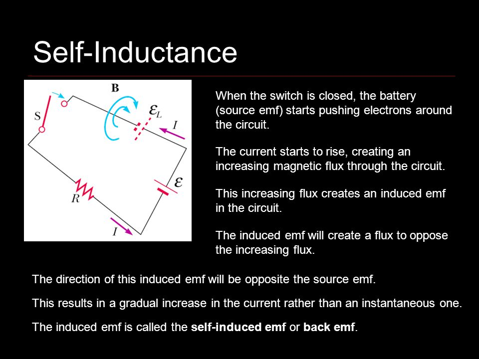 Self-Inductance When the switch is closed, the battery (source emf) starts pushing electrons around the circuit. The current starts to rise, creating
