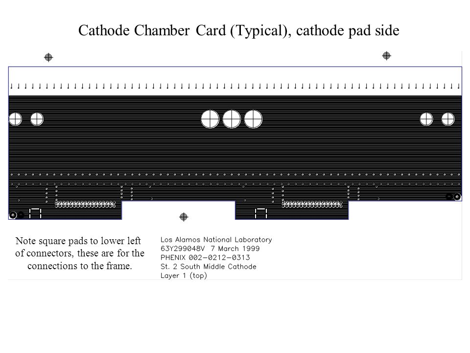Note square pads to lower left of connectors, these are for the connections to the frame. Cathode Chamber Card (Typical), cathode pad side