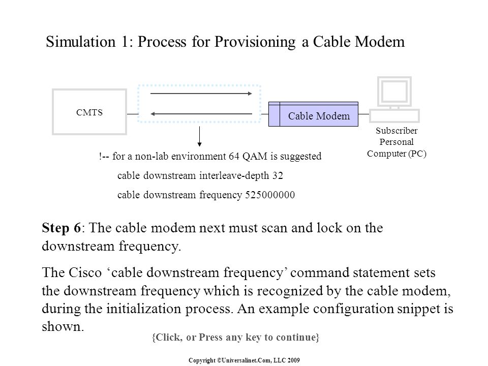 Copyright ©Universalinet.Com, LLC 2009 Simulation 1: Process for Provisioning a Cable Modem {Click, or Press any key to continue} Step 6: The cable modem next must scan and lock on the downstream frequency.