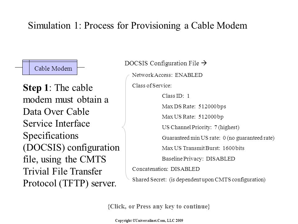 Copyright ©Universalinet.Com, LLC 2009 {Click, or Press any key to continue} Step 1: The cable modem must obtain a Data Over Cable Service Interface Specifications (DOCSIS) configuration file, using the CMTS Trivial File Transfer Protocol (TFTP) server.