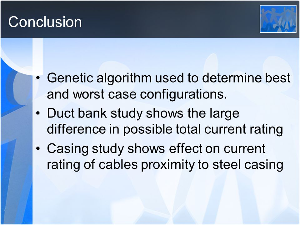 Conclusion Genetic algorithm used to determine best and worst case configurations.