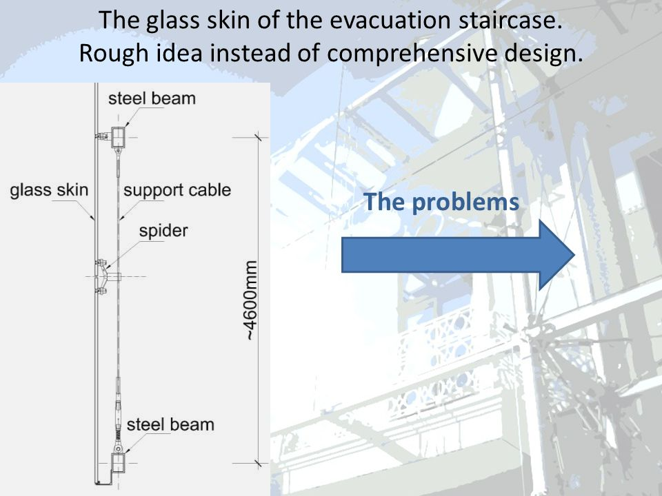 The glass skin of the evacuation staircase. Rough idea instead of comprehensive design.