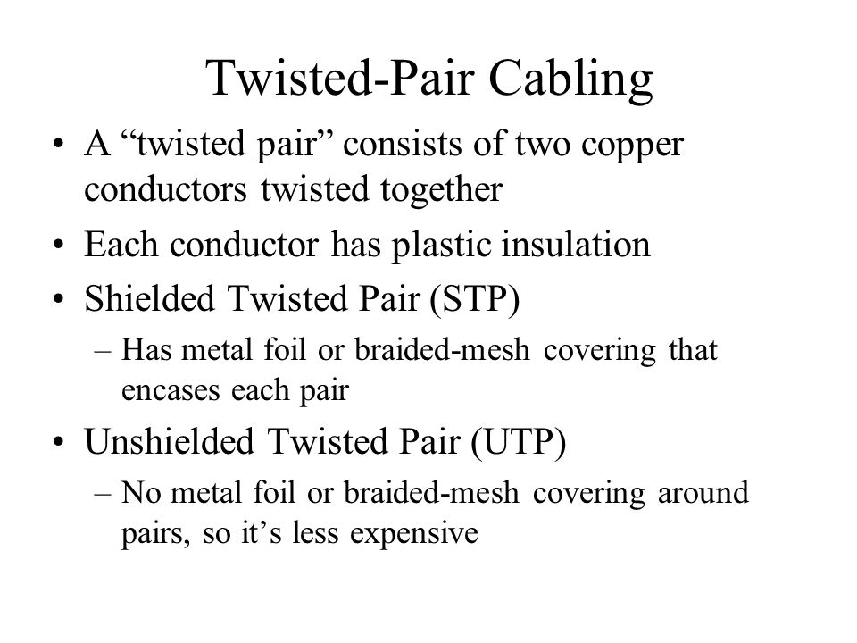 Twisted-Pair Cabling A twisted pair consists of two copper conductors twisted together Each conductor has plastic insulation Shielded Twisted Pair (ST