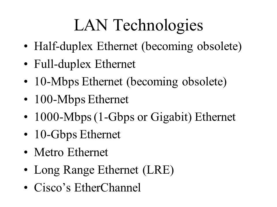 LAN Technologies Half-duplex Ethernet (becoming obsolete) Full-duplex Ethernet 10-Mbps Ethernet (becoming obsolete) 100-Mbps Ethernet 1000-Mbps (1-Gbp