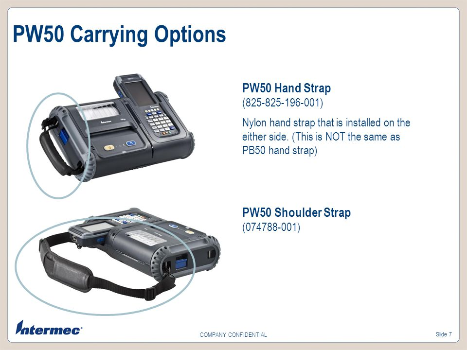 Slide 7 COMPANY CONFIDENTIAL PW50 Carrying Options PW50 Hand Strap (825-825-196-001) Nylon hand strap that is installed on the either side. (This is N