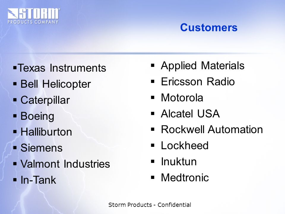 Storm Products - Confidential Applied Materials Ericsson Radio Motorola Alcatel USA Rockwell Automation Lockheed Inuktun Medtronic Texas Instruments Bell Helicopter Caterpillar Boeing Halliburton Siemens Valmont Industries In-Tank Customers