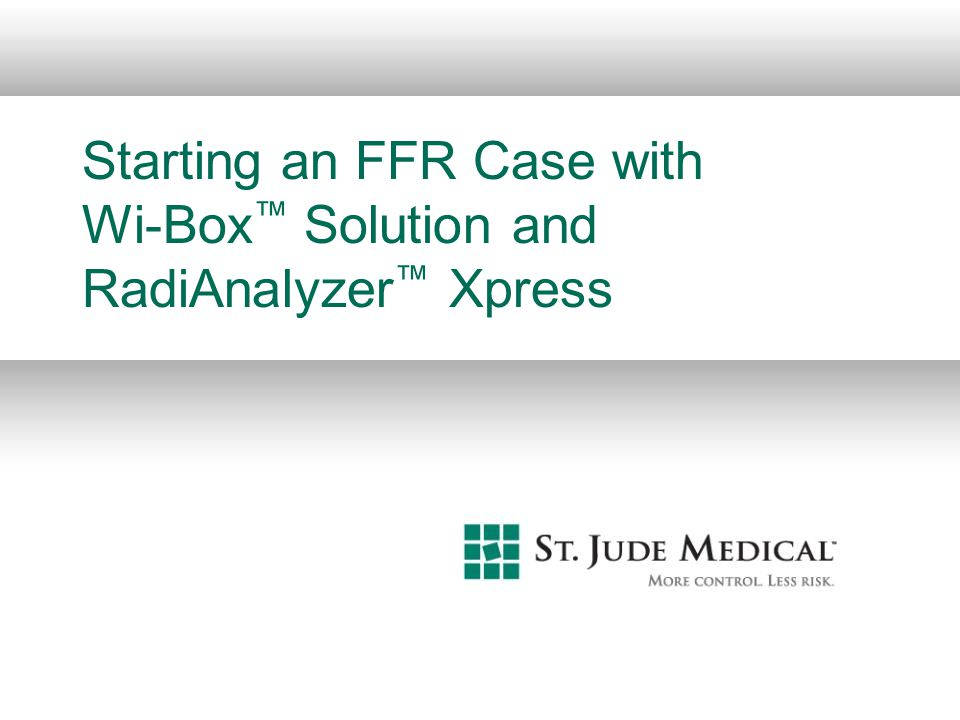 Starting an FFR Case with Wi-Box Solution and RadiAnalyzer Xpress
