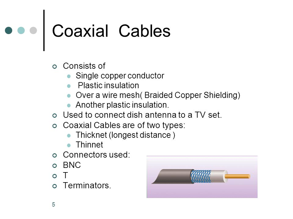 5 Coaxial Cables Consists of Single copper conductor Plastic insulation Over a wire mesh( Braided Copper Shielding) Another plastic insulation. Used t