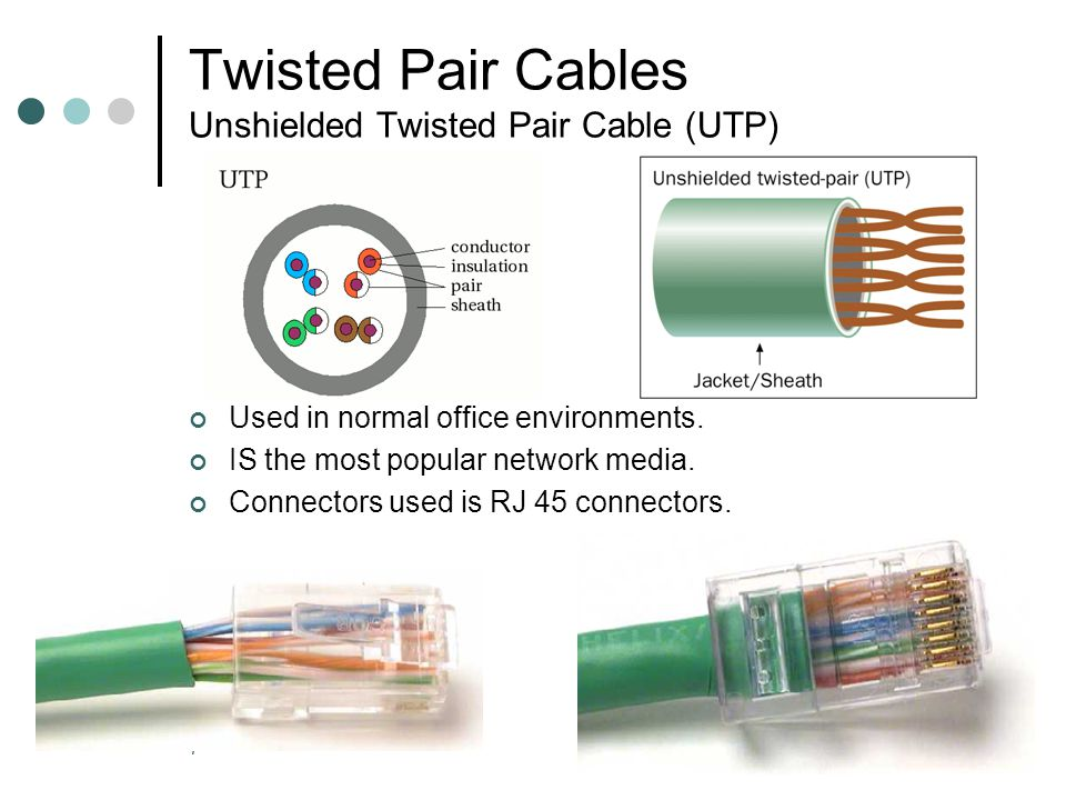 8 Twisted Pair Cables Unshielded Twisted Pair Cable (UTP) The advantage of UTP is its ability to limit signal degradation from electromagnetic interference (EMI) and Radio frequency interference.