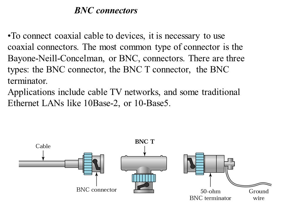 BNC connectors To connect coaxial cable to devices, it is necessary to use coaxial connectors.