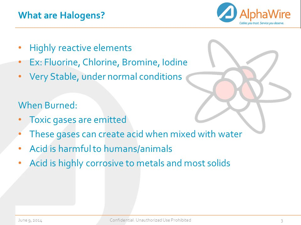 What are Halogens? Highly reactive elements Ex: Fluorine, Chlorine, Bromine, Iodine Very Stable, under normal conditions When Burned: Toxic gases are