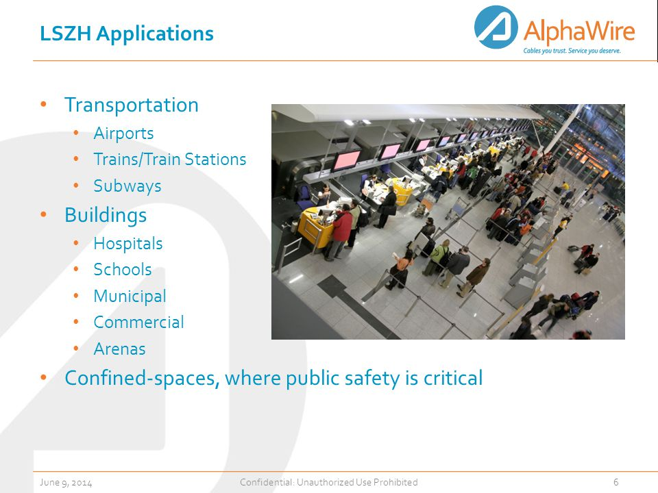 LSZH Applications Transportation Airports Trains/Train Stations Subways Buildings Hospitals Schools Municipal Commercial Arenas Confined-spaces, where public safety is critical June 9, 2014Confidential: Unauthorized Use Prohibited6