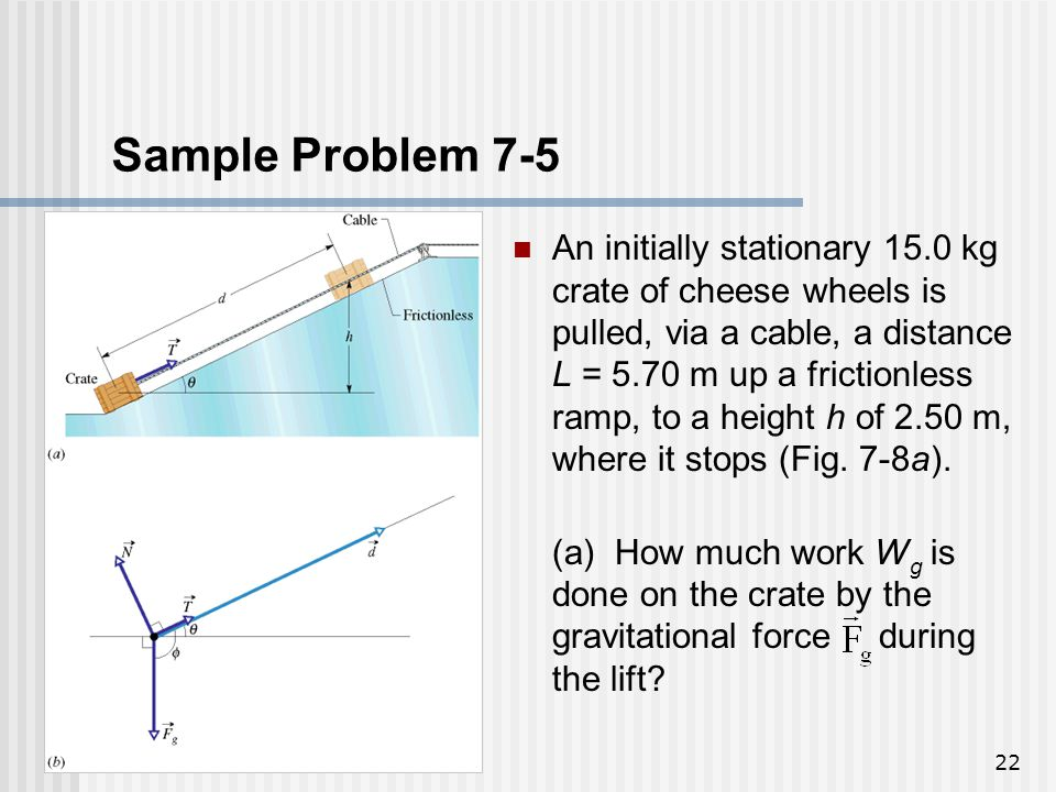 22 Sample Problem 7-5 An initially stationary 15.0 kg crate of cheese wheels is pulled, via a cable, a distance L = 5.70 m up a frictionless ramp, to