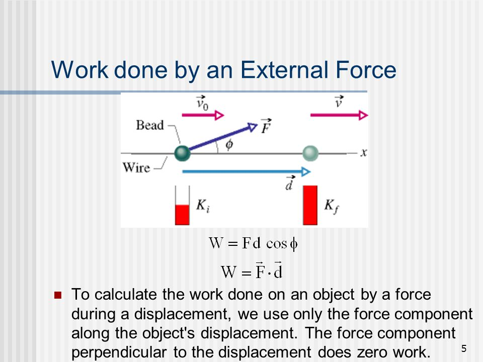 5 Work done by an External Force To calculate the work done on an object by a force during a displacement, we use only the force component along the o