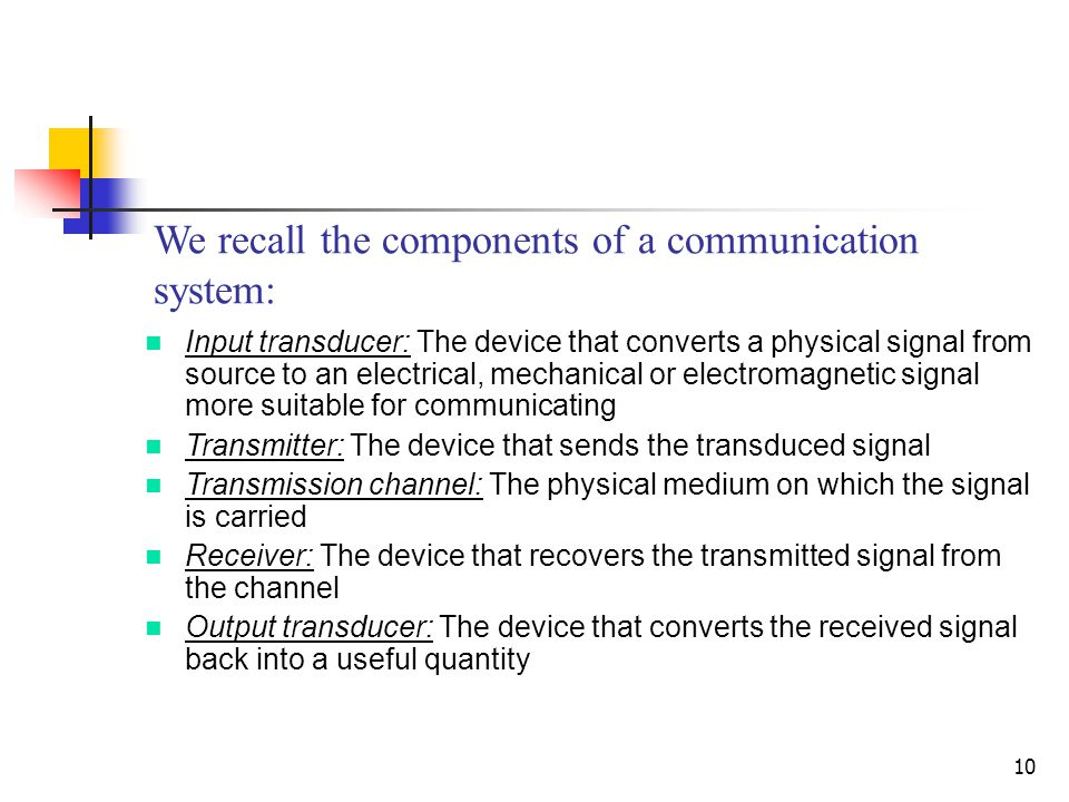 10 We recall the components of a communication system: Input transducer: The device that converts a physical signal from source to an electrical, mechanical or electromagnetic signal more suitable for communicating Transmitter: The device that sends the transduced signal Transmission channel: The physical medium on which the signal is carried Receiver: The device that recovers the transmitted signal from the channel Output transducer: The device that converts the received signal back into a useful quantity