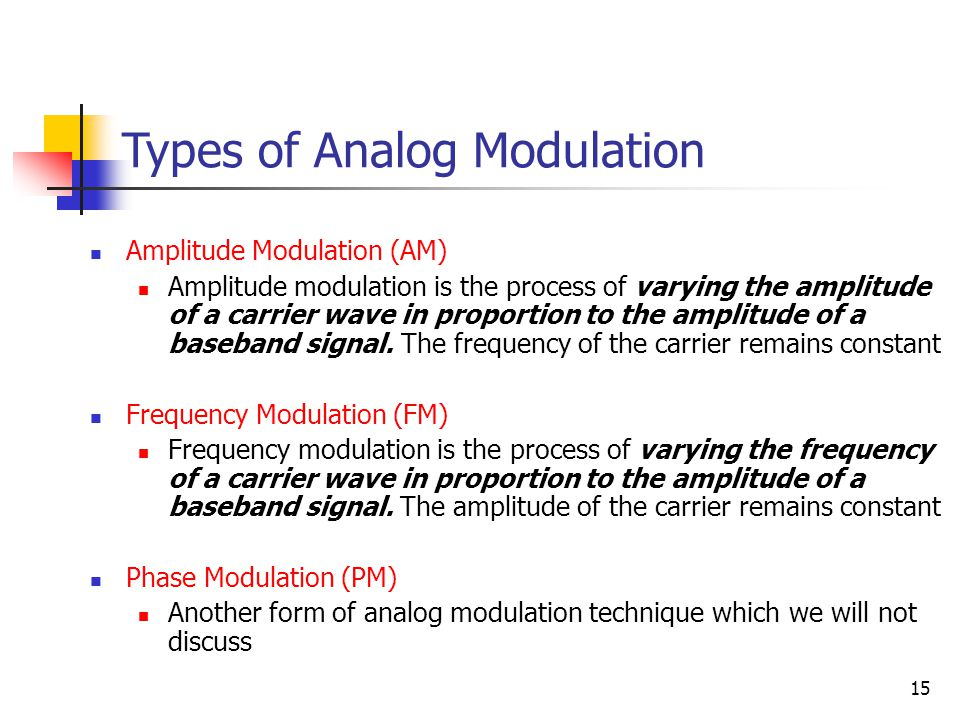 15 Types of Analog Modulation Amplitude Modulation (AM) Amplitude modulation is the process of varying the amplitude of a carrier wave in proportion to the amplitude of a baseband signal.