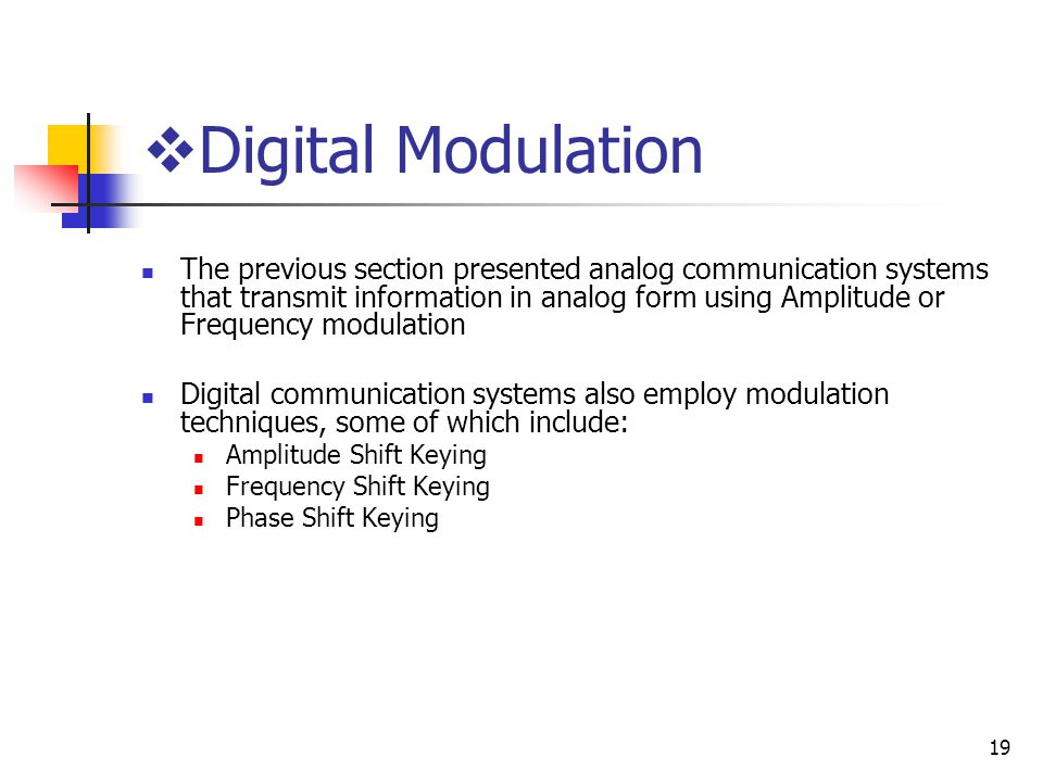 19 The previous section presented analog communication systems that transmit information in analog form using Amplitude or Frequency modulation Digital communication systems also employ modulation techniques, some of which include: Amplitude Shift Keying Frequency Shift Keying Phase Shift Keying Digital Modulation