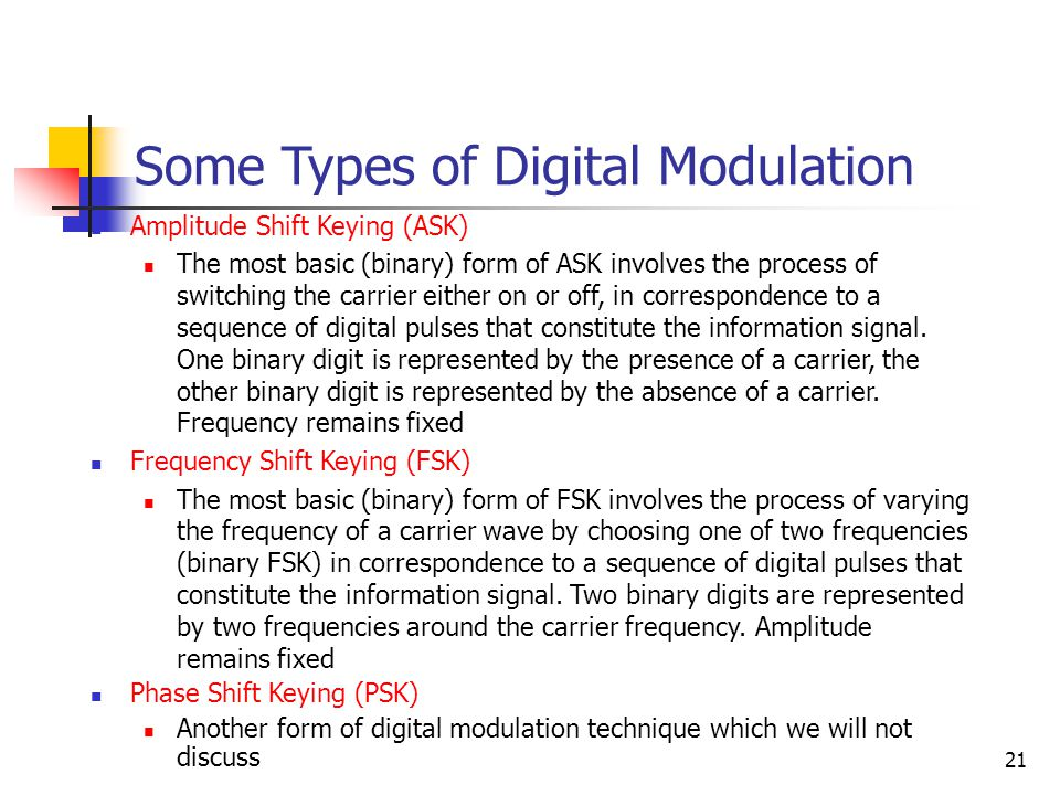 21 Some Types of Digital Modulation Amplitude Shift Keying (ASK) The most basic (binary) form of ASK involves the process of switching the carrier either on or off, in correspondence to a sequence of digital pulses that constitute the information signal.