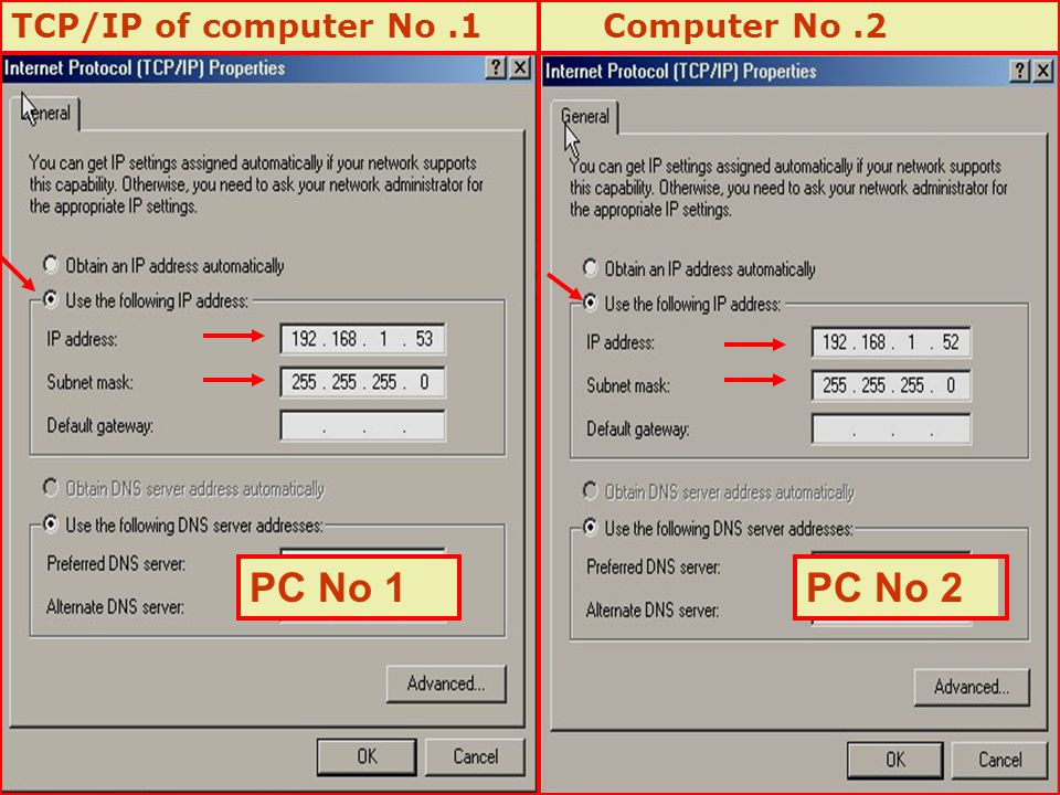 TCP/IP of computer No.1 Computer No.2 PC No 1PC No 2
