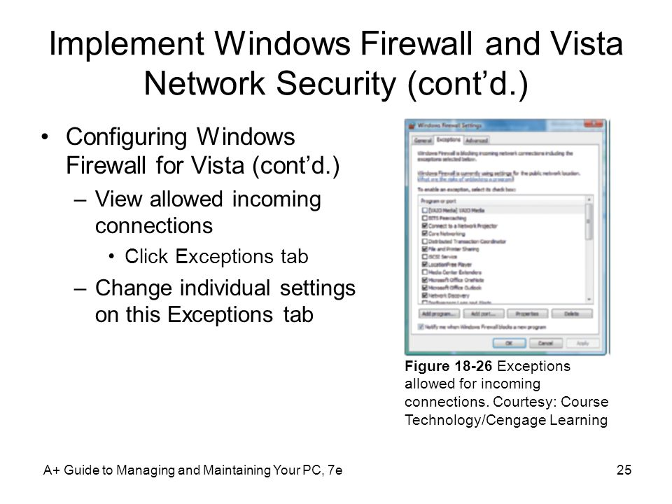 Implement Windows Firewall and Vista Network Security (contd.) Configuring Windows Firewall for Vista (contd.) –View allowed incoming connections Clic