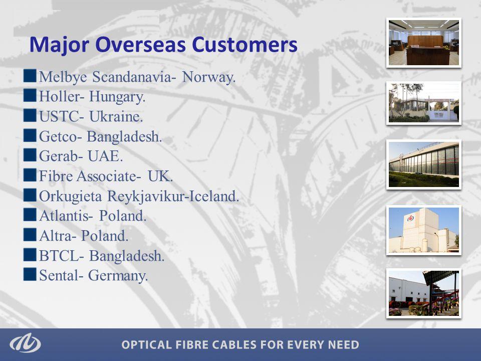 Major Overseas Customers Melbye Scandanavia- Norway. Holler- Hungary. USTC- Ukraine. Getco- Bangladesh. Gerab- UAE. Fibre Associate- UK. Orkugieta Rey