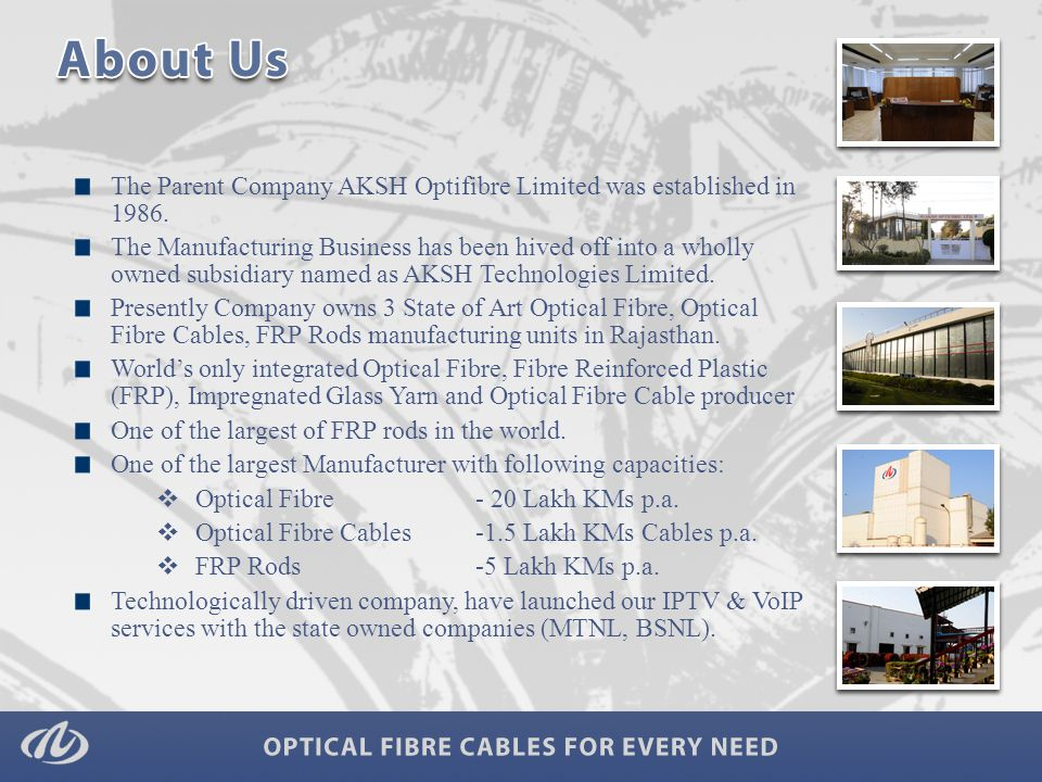 The Parent Company AKSH Optifibre Limited was established in 1986.